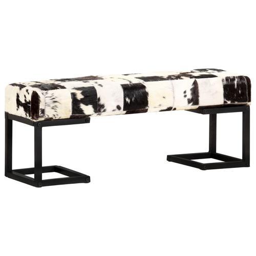 vidaXL Sitzbank 110 cm Schwarz Patchwork Echtes Ziegenleder