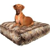 Bessie + Barnie Luxury Extra Plush Faux Fur Animal Print Rectangle Dog & Cat Bed, Simba, Small