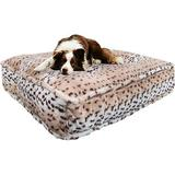 Bessie + Barnie Luxury Extra Plush Faux Fur Animal Print Rectangle Dog & Cat Bed, Aspen Snow Leopard, X-Large