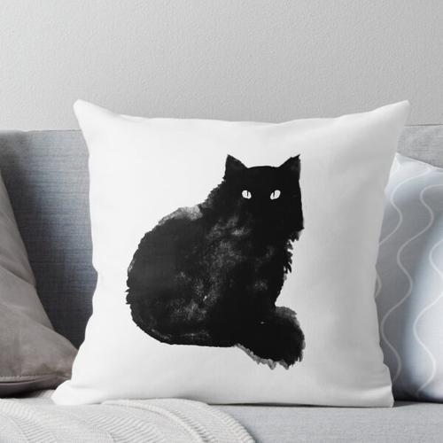 flauschige schwarze Katze Kissen