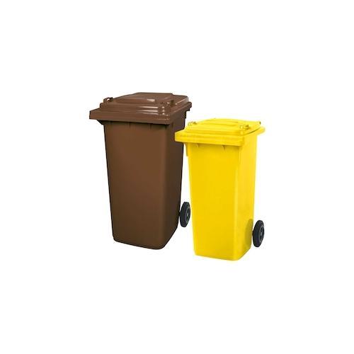 BRB Set mit 1x DIN Mülltonne 120 Liter gelb und 1x DIN Mülltonne 240 Liter braun