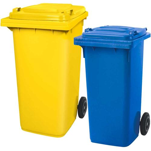 BRB Set mit 1x DIN Mülltonne 120 Liter blau und 1x DIN Mülltonne 240 Liter gelb