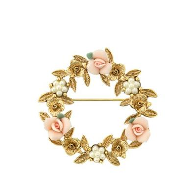 1928 Jewelry Pink Gold Tone Pink Porcelain Rose Wreath Brooch