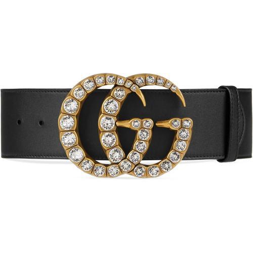 Gucci Gürtel mit Doppel G Schnalle mit Kristallen