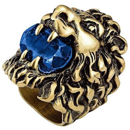 Gucci Kristallverzierter Ring mit Löwenkopf