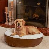 Happy Hounds Scooter Deluxe Round Pillow Dog Bed w/ Removable Cover, Latte, X-Small