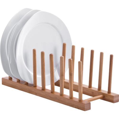 Zeller Present Geschirrständer, (1 tlg.), aus Bambus, für bis zu 8 Teller beige Geschirrständer Küchenaccessoires Wohnaccessoires
