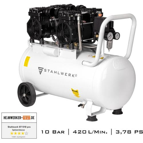 STAHLWERK Druckluft Kompressor ST 510 pro Flüsterkompressor mit 50 L Kessel und 10 Bar,