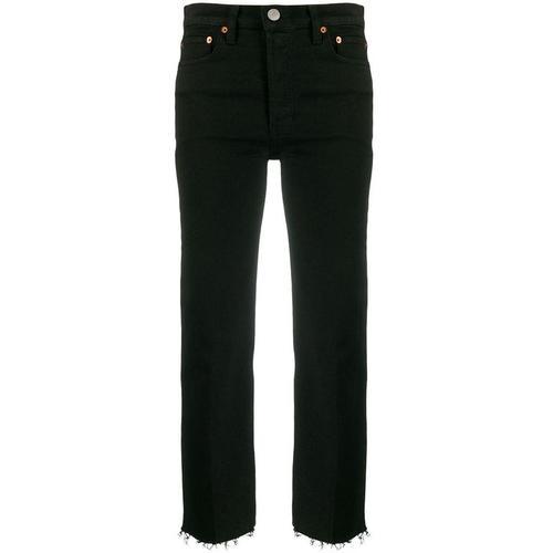 Re/done Ausgefranste Cropped-Jeans