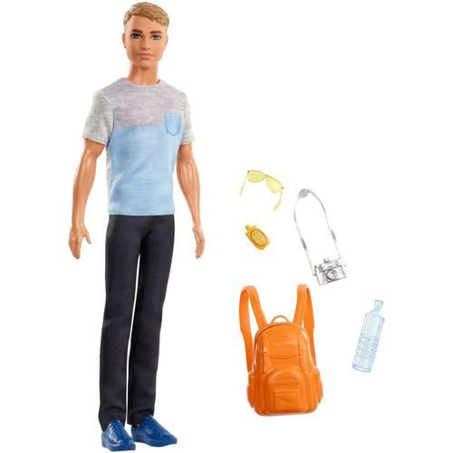 Barbie Ken Reise Puppe (blond) mit Zubehör, Anziehpuppe, Modepuppe, Barbie Urlaub