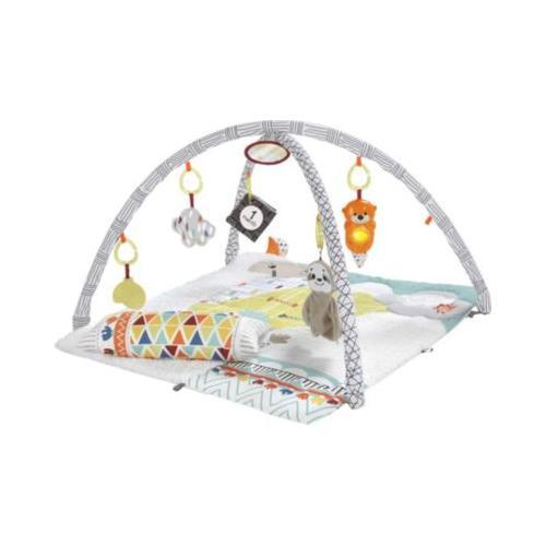 Fisher-Price 5-Sinnes Spieldecke, Krabbeldecke mit Spielbogen, Babydecke