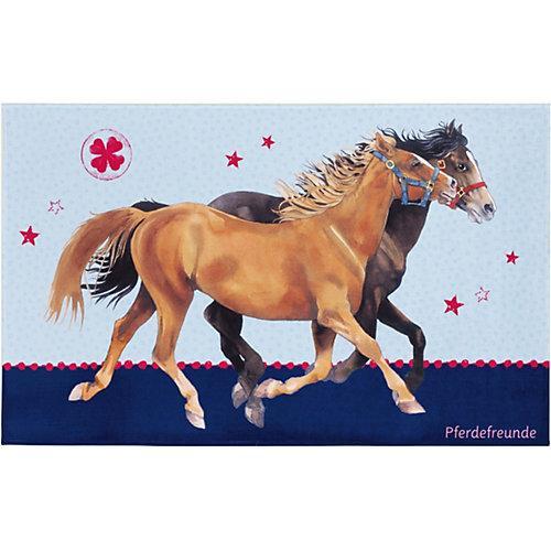 Kinderteppich Pferdefreunde, blau, 100 x 160 cm