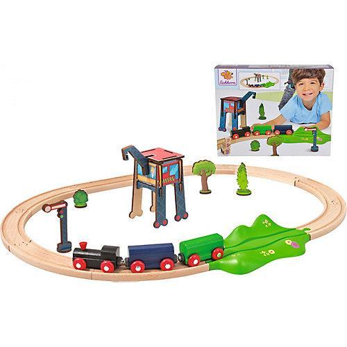 Eisenbahn - Set, Oval mit Zubehör, 18 tlg. mehrfarbig