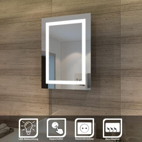 Elegant Bad Spiegelschrank mit Beleuchtung Schiebetür LED Licht Badezimmer Spiegelschrank Bad