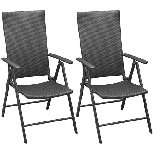 Vidaxl - Stapelbare Gartenstühle 2 Stk. Poly Rattan Schwarz