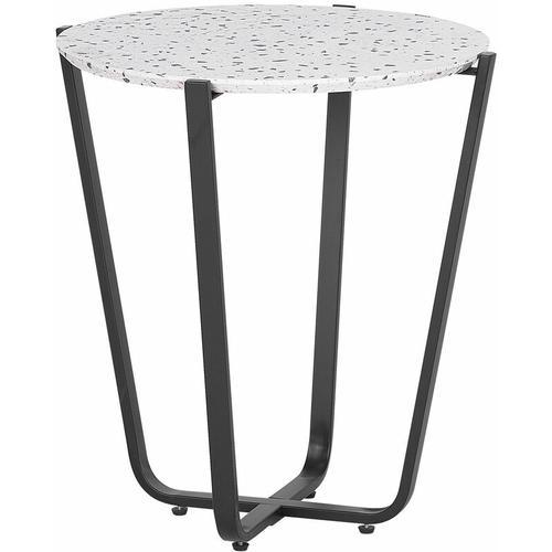 Beistelltisch Grau Schwarz 50 x 55 cm Dekorativer Tischplatte PVC Folie Terrazzo Optik Rund
