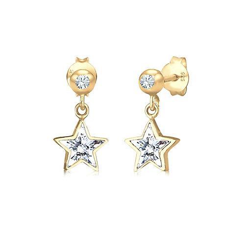 Ohrringe Kinder Sterne Kristalle 925 Silber Ohrhänger gold Mädchen Kinder