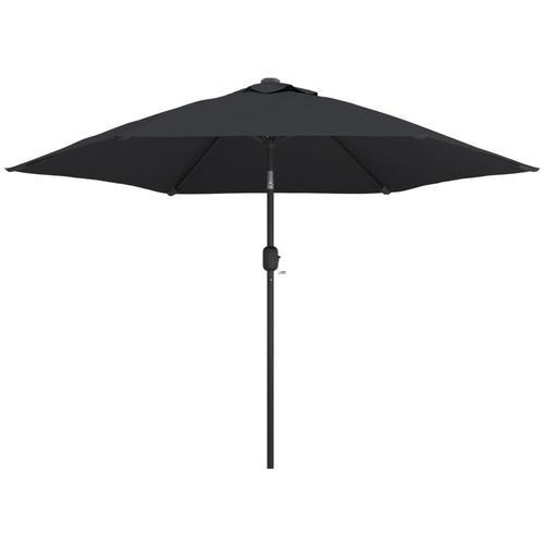 Sonnenschirm mit LED-Leuchten und Stahlmast 300 cm Schwarz