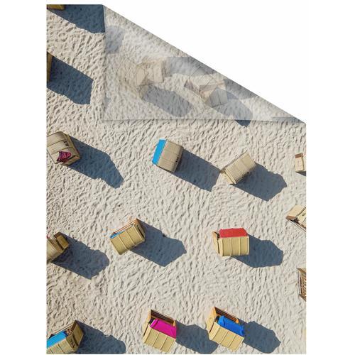 LICHTBLICK Fensterfolie Strandkörbe, selbstklebend, Sichtschutz gelb Fensterdekoration Deko Wohnaccessoires