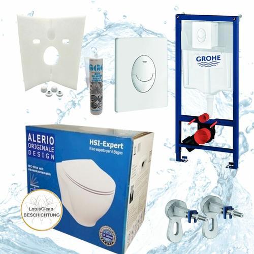 Rapid 3in1 + Alerio WC + Drückerplatte + WC-Sitz Weiß - Grohe