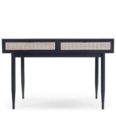 Schreibtisch Design - Rattan & schwarzes Holz - NV GALLERY - LINCOLN