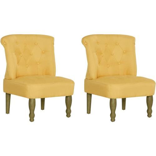 Vidaxl - Französischer Stuhl Stoff Gelb 2 Stk.