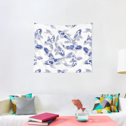 Blue and white Koi fish Wall Tapestry