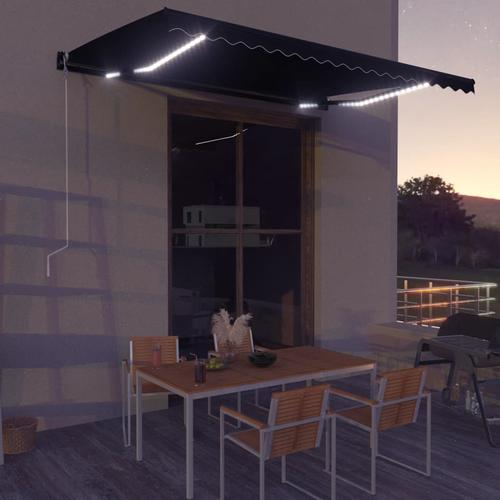 vidaXL Einziehbare Markise mit Windsensor & LED 450x300cm Anthrazit