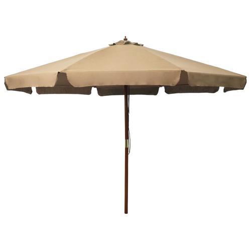 vidaXL Sonnenschirm mit Holzmast 330 cm Taupe