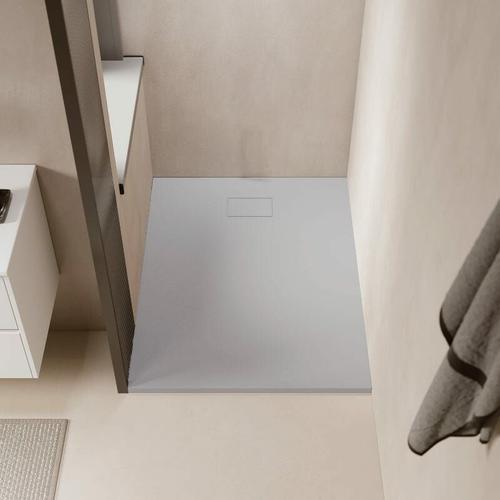 Duschwanne bodengleich PIATTO aus SoliCast® grau 80 cm x 120 cm