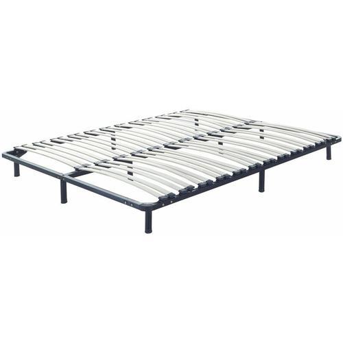 Lattenrost Pappelholz Metall 180 x 200 cm 48 Federleisten für Doppelbett