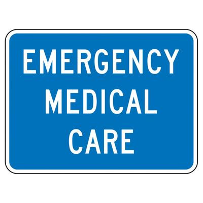 Accuform Signs FRG118DP 18″ x 24″ Emergency Medical Care Sign – Aluminum w/ DG High Prism Sheeting