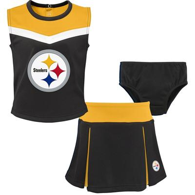 """Pittsburgh Steelers Girls Preschool Black/Gold Two-Piece Spirit Cheerleader Set with Bloomers"""