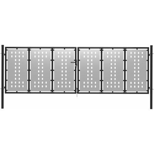 Gartentor Stahl 400 x 125 cm Silbern