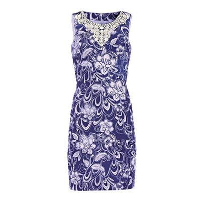 Boston Proper - Floral Embellished Sheath Dress - Multi - 08