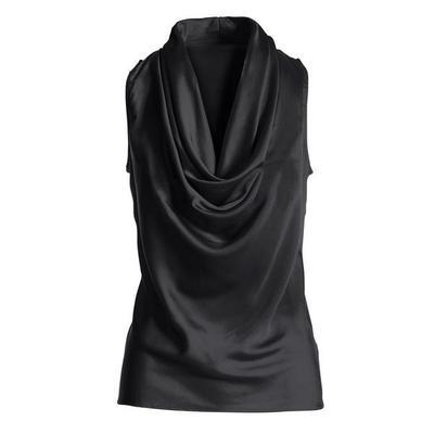 Boston Proper - Marilyn Cowl-Neck Charmeuse Blouse - Black - Medium