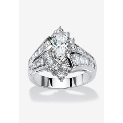 Platinum-Plated Marquise Engagement Ring Cubic Zirconia by PalmBeach Jewelry in Silver (Size 10)