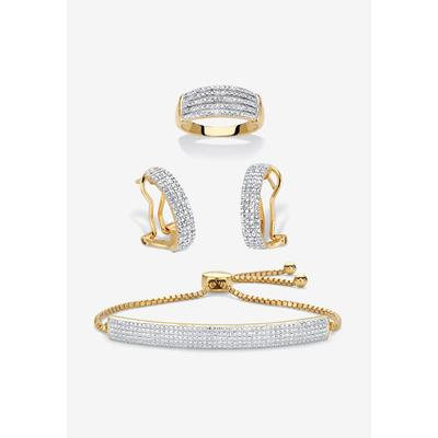 """18K Gold-Plated Diamond Accent Demi Hoop Earrings, Ring and Adjustable Bolo Bracelet Set 9"""" by PalmBeach Jewelry in Gold (Size 7)"""