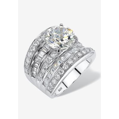 Platinum over Silver Engagement Ring Cubic Zirconia (7 1/7 cttw TDW) by PalmBeach Jewelry in Silver (Size 6)
