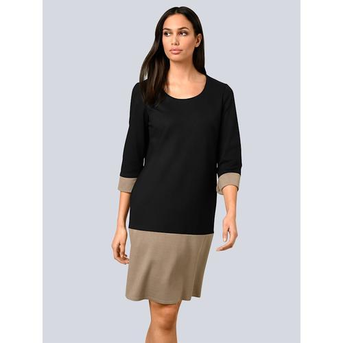 Alba Moda, Kleid mit breiter Saumblende, schwarz