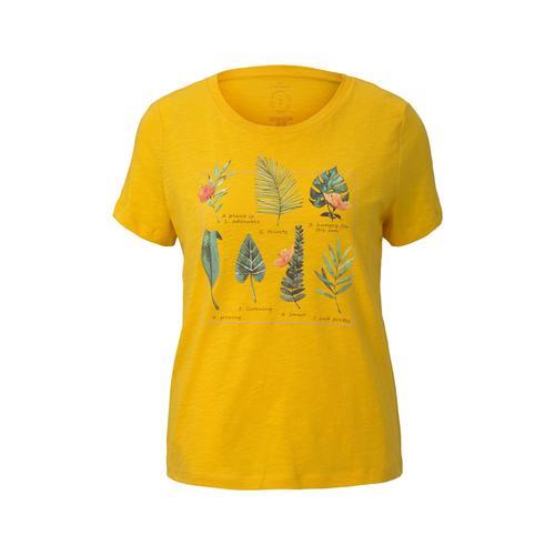TOM TAILOR Damen T-Shirt mit Collagen-Print, gelb, Gr.S