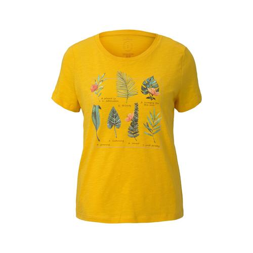 TOM TAILOR Damen T-Shirt mit Collagen-Print, gelb, Gr.M