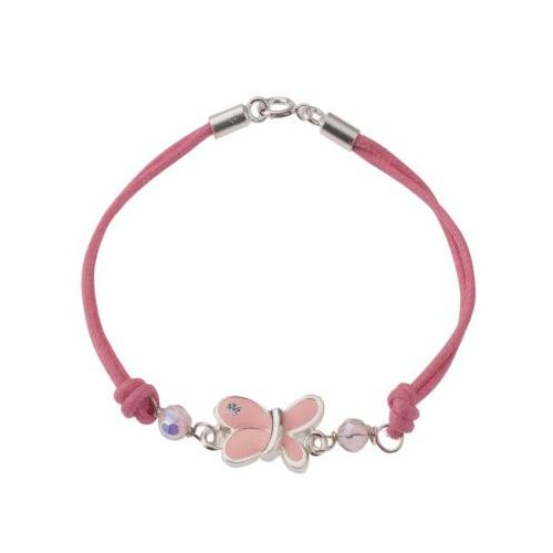 Armband 925/- Sterling Silber Textil Schmetterling Kristall rhodiniert Armbänder pink Mädchen Kinder