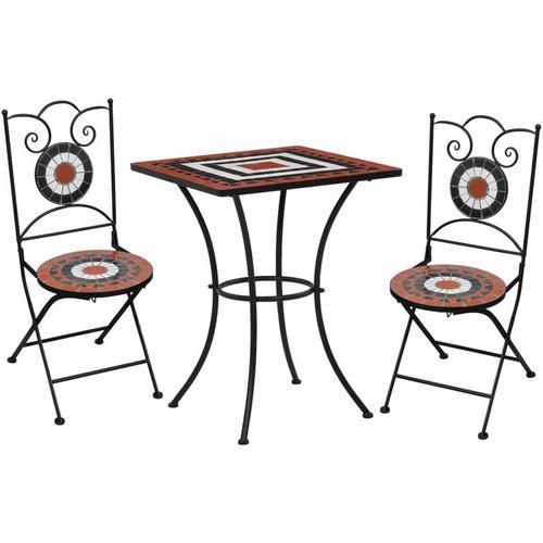 3-tlg. Bistro-Set Mosaik Keramik Terrakotta Weiß