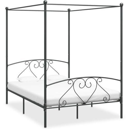 Himmelbett-Gestell Metall Grau 160x200cm