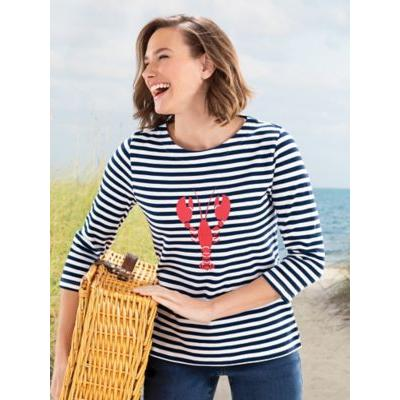 Women's Simply Stripes Lobster Tee, Classic Navy/White P-S