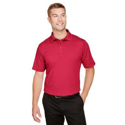 Devon & Jones DG22 CrownLux Performance Men's Address Melange Polo Shirt in Red Heather size Medium   Polyester
