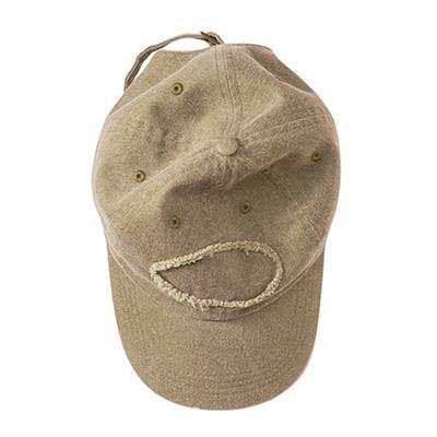 Authentic Pigment 1917 Men's Pigment-Dyed Raw-Edge Patch Baseball Cap in Khaki Green   Cotton