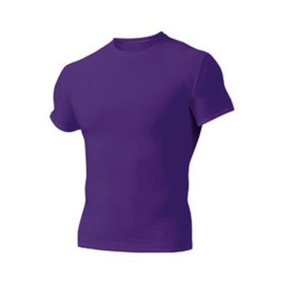 A4 N3130 Adult Polyester Spandex Short Sleeve Compression T-Shirt in Purple size Medium