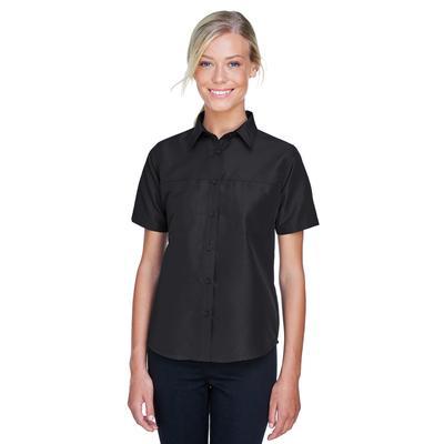 Harriton M580W Women's Key West Short-Sleeve Performance Staff Shirt in Black size Large   Polyester